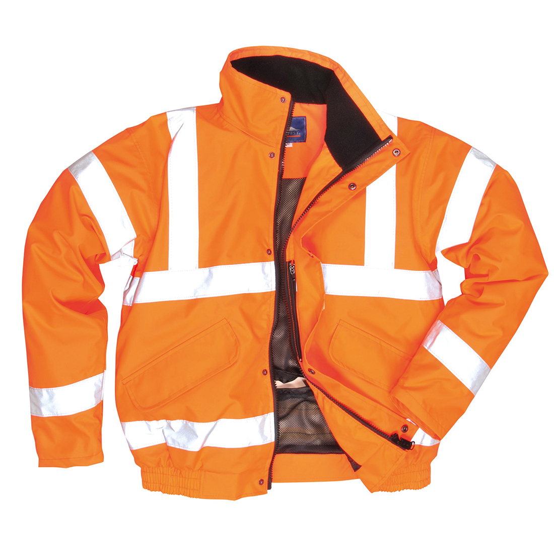Personal Protective Equipment (PPE) New Portwest Hi Vis Bomber Jacket Water Resistant Fleece Lined Hood Safety S463 Facility Maintenance & Safety