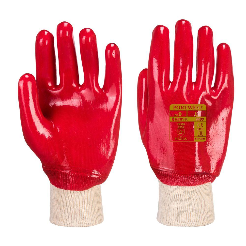 Knitted Wrist Gloves Portwest A400 BLACK PVC Knitwrist Glove Waterproof