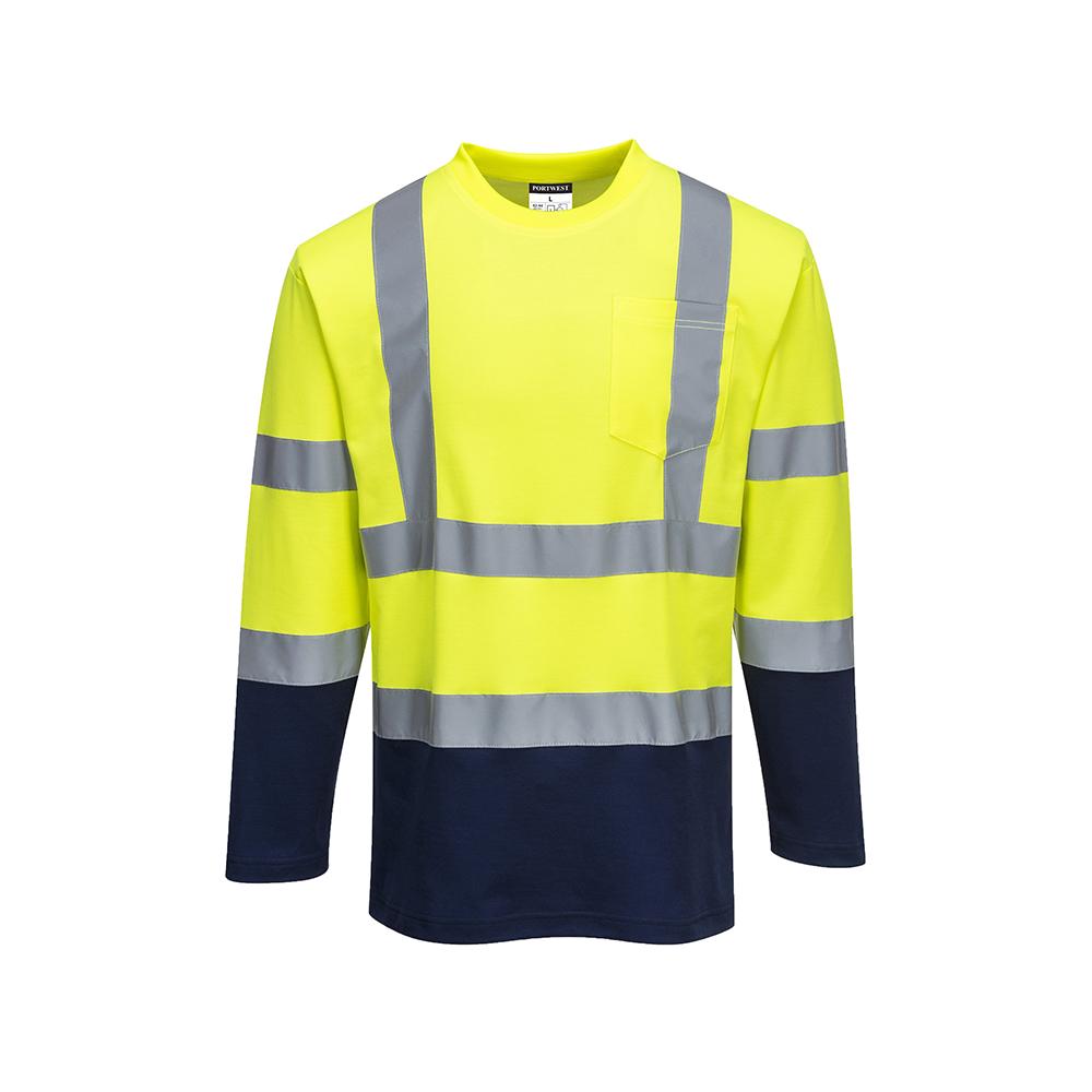 Portwest Hi-Vis Workwear Long Sleeved Cotton Comfort Polo