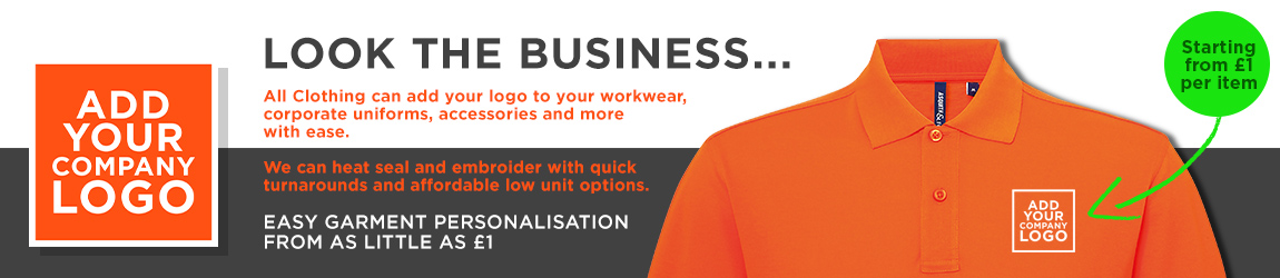Professional workwear & uniforms with your logo starting at £1 per garment